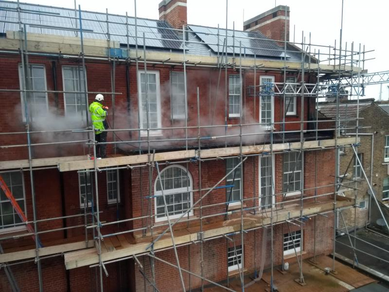 Doff Steam Cleaning- Brick Building cleaning